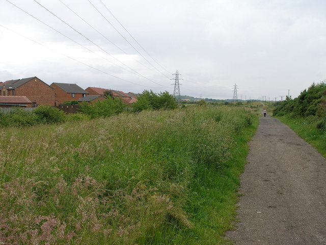 Power lines follow the route of the countryside walk