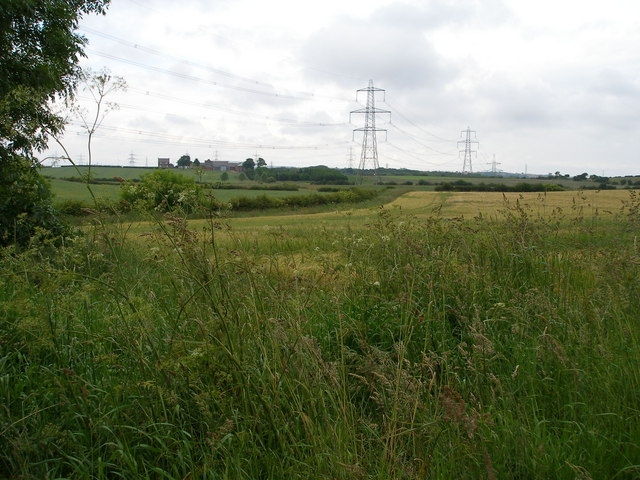 Farmland with Carr's Farm and power lines in the distance