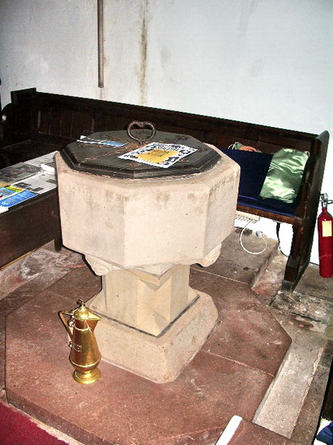 The Parish Church of All Saints, Boltongate, font