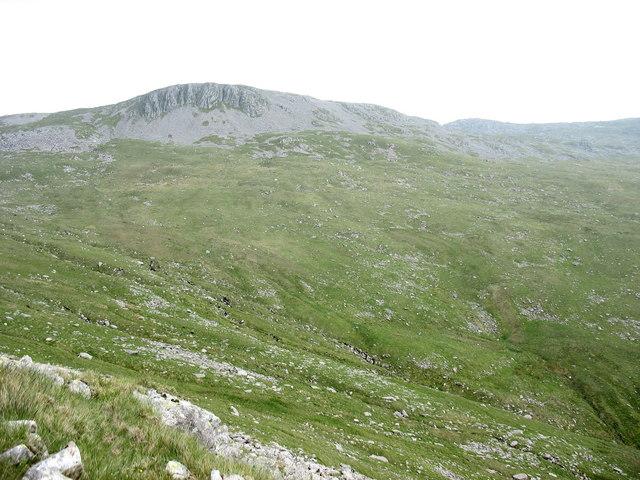 The head of Cwm y Dolau from Foel Fawr with Aran Fawddwy in the background