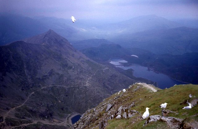 The Miners Track as seen from the Snowdon summit