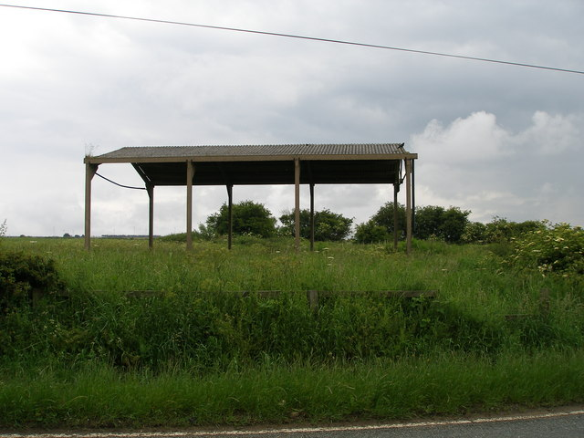 An open barn stands on the site of Strawberry Hall