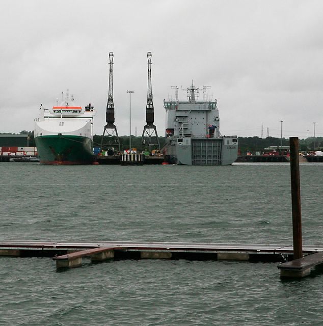 Piers of Marchwood Military Port seen across the River Test