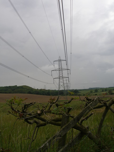 Power lines march through the countryside
