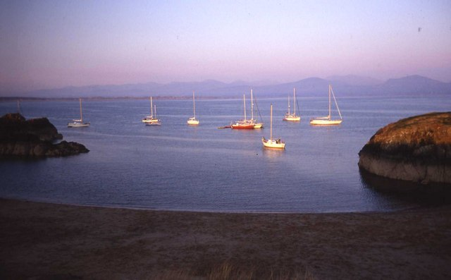Evening sun on boats moored off Llanddwyn Island