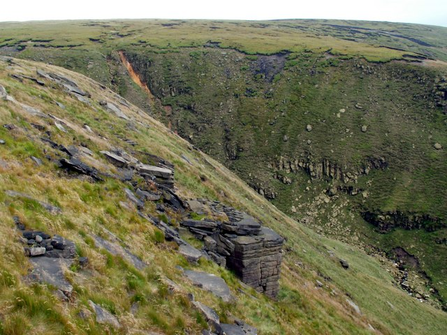 The steep sides of Dowstone Clough