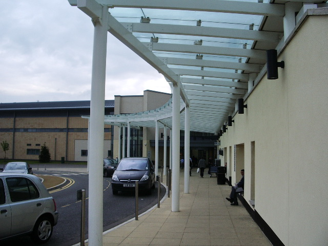 Waiting area at the main entrance to The Royal Blackburn Hospital