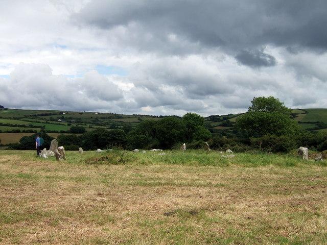 Dyffryn Syfynwy stone circle from the west