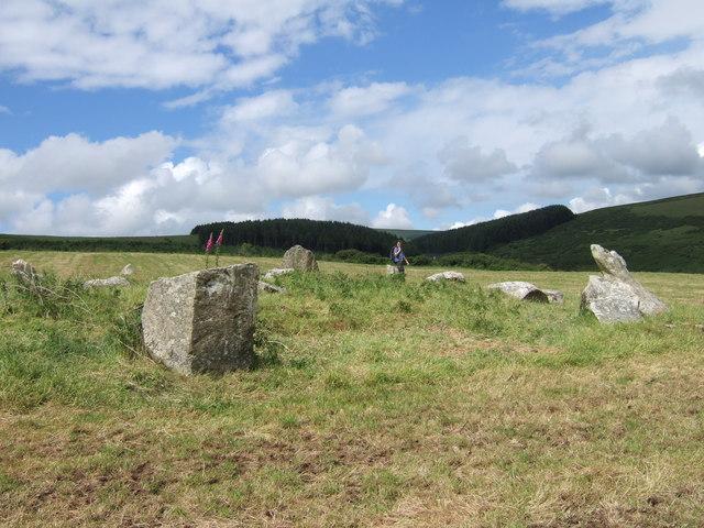Dyffryn Syfynwy stone circle from the south