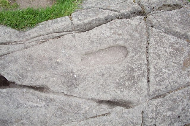 A foot print carved in the rock inside Dunadd Castle