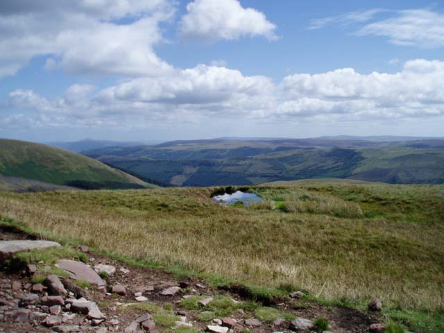 Small mountain lake on SE slope of Craig y Fan Ddu