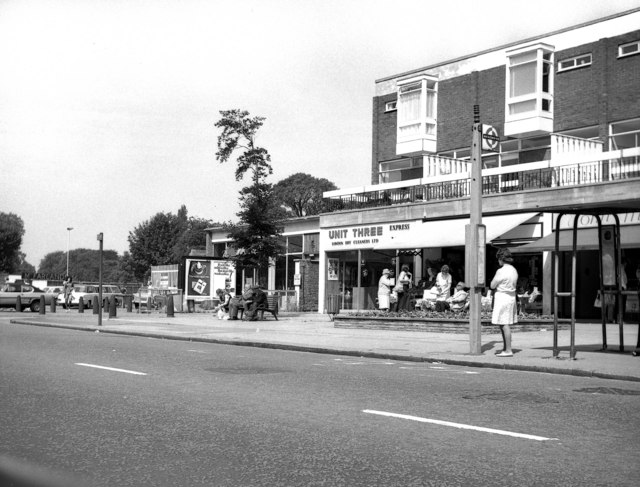 Shops and bus stop in Carshalton High Street