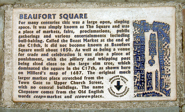 Chepstow - Beaufort Square history plaque