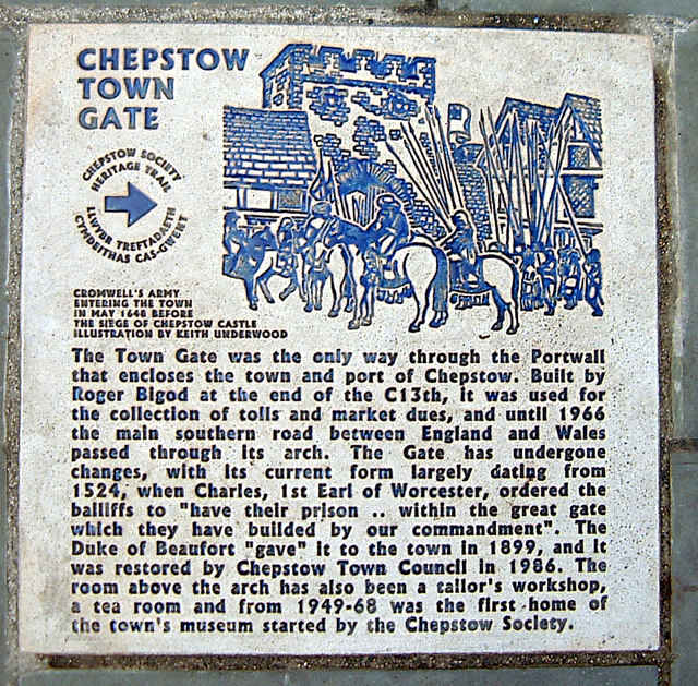 Chepstow Town Gate history plaque