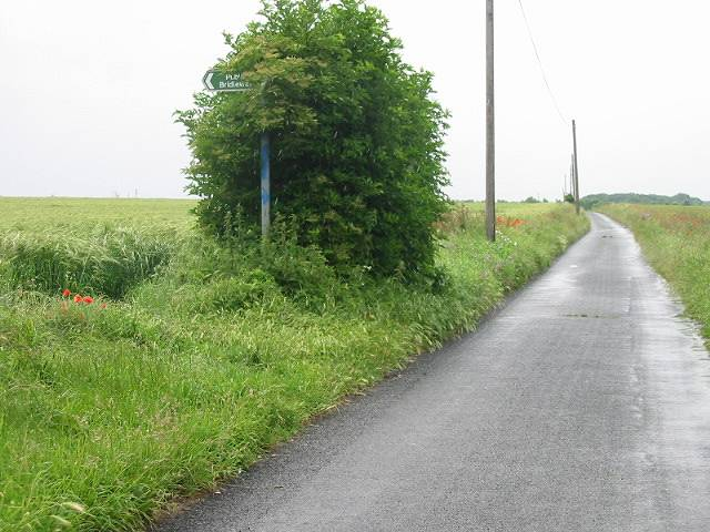 Shepherds Close Road and bridleway off to the East