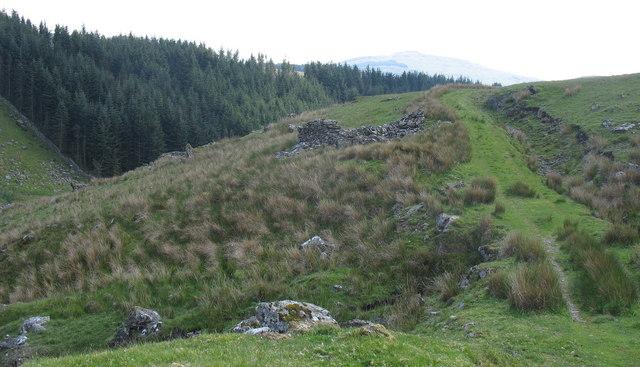 View back along the Allt-lwyd farm track