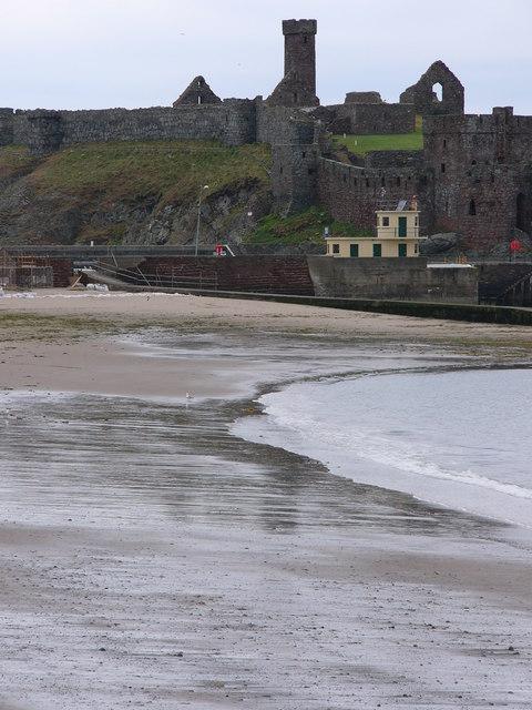 Peel beach and castle