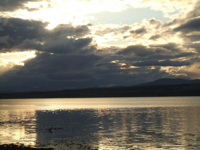 Beauly Firth at sunset, looking  towards Ben Wyvis