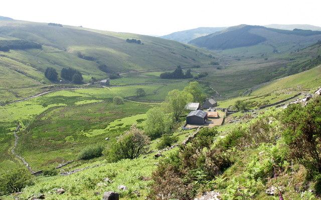Allt-lwyd Farm and the Mawddach valley from the Allt-lwyd mountain track