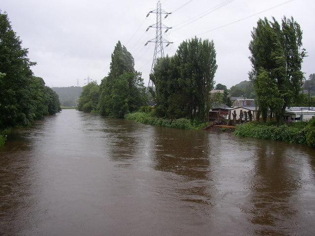 The River Calder in spate, Brighouse
