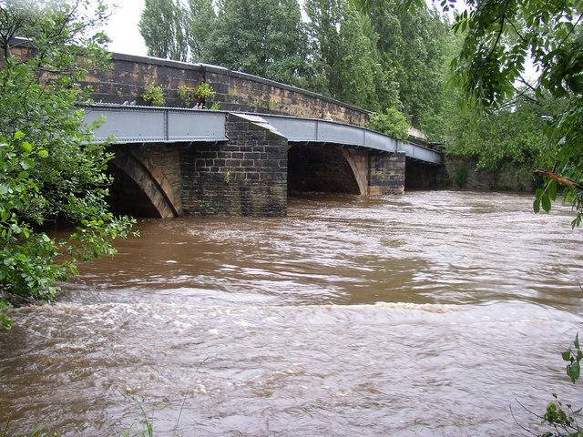 The River Calder in spate, Brighouse
