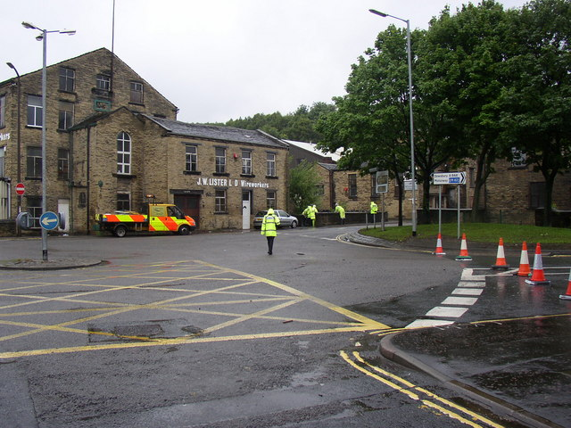Road closed, Brighouse