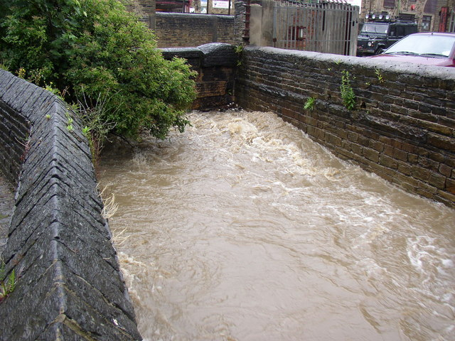 Clifton Beck in spate, Brighouse
