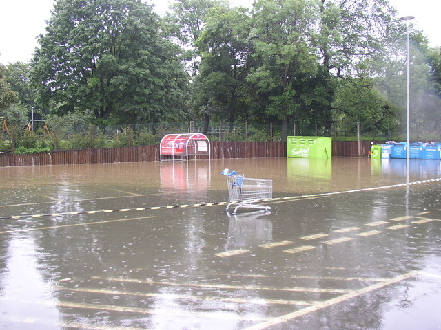 Flooding at Tesco, Brighouse