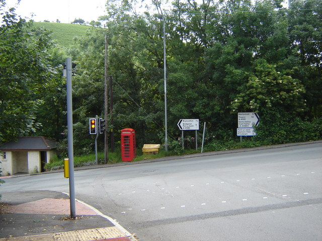 Junction, with telephone box, Blackmill