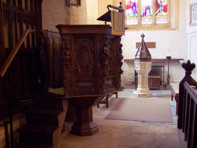 Pulpit and Font at St Andrew's Church