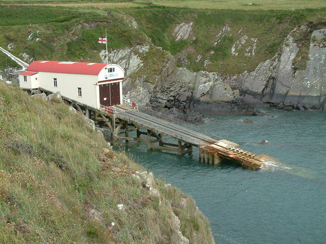 St. Justinian lifeboat station and slipway, Pembrokeshire