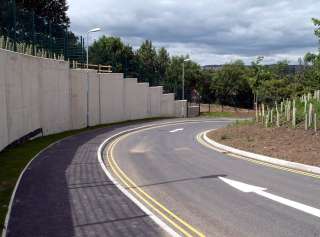 The new exit road from Darton Primary School.