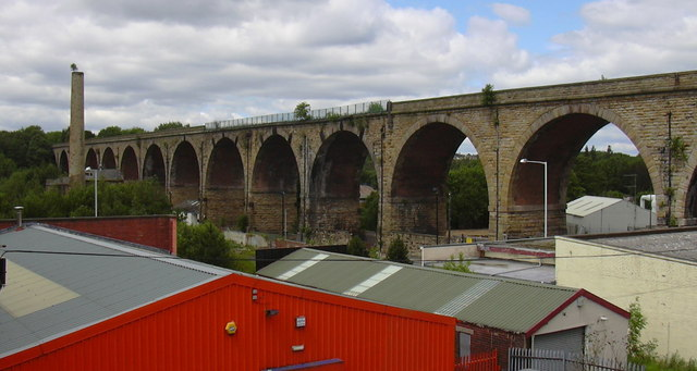 Railway Viaduct and Calder Vale Shed Chimney