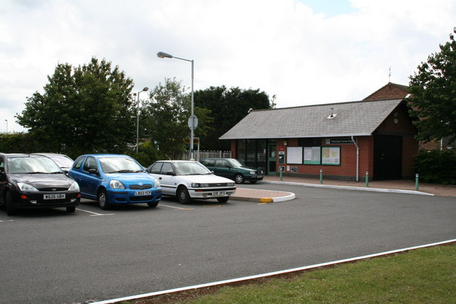 Car park and ticket office/waiting room, Tattenham Corner station