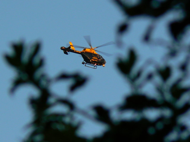 Police/ambulance helicopter over Swindon
