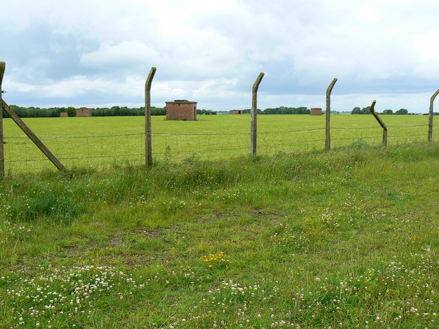 Old airfield building and fence, Charmy Down