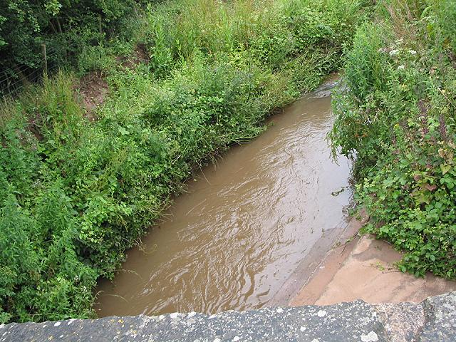 Swollen stream near Coughton