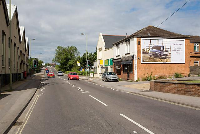Approaching the railway bridge in Bishopstoke Road, Eastleigh