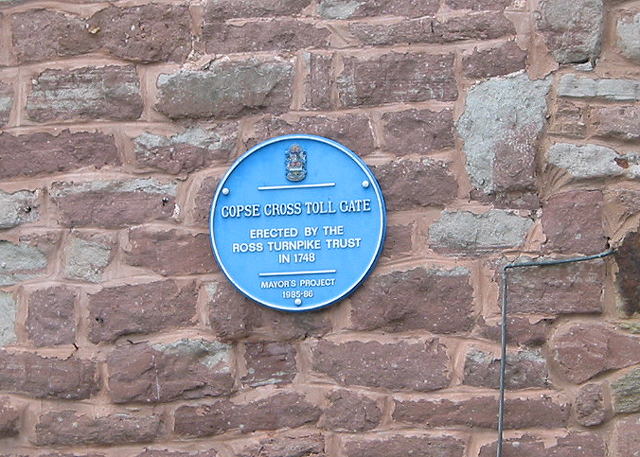 Blue plaque - Copse Cross Toll Gate
