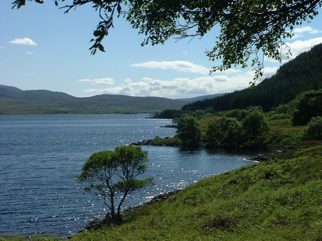 Sun glints off Loch Naver