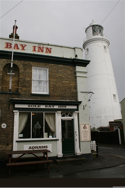 Sole Bay Inn and Southwold lighthouse
