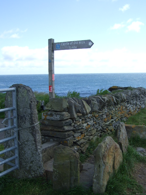 Stile on path to Old Castle of Wick