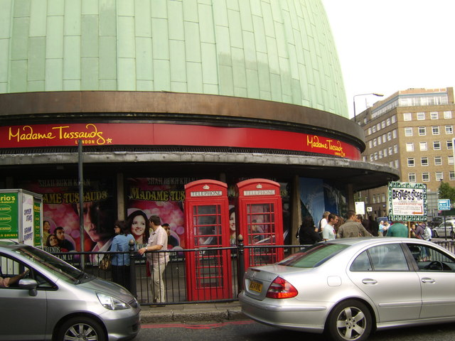 Red telephone boxes at Madame Tussauds