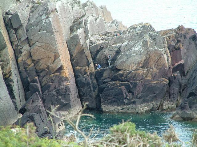 Rock climbing at Porth Clais