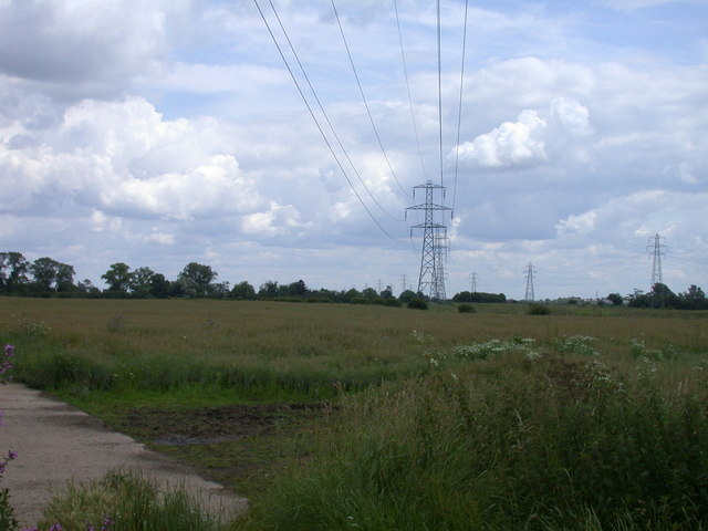 Power lines crossing White Fen