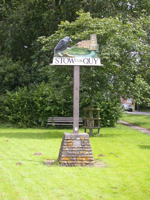 Stow cum Quy village sign