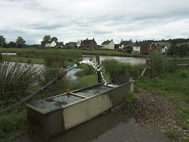 Drinking trough and ponds near Brookhouses