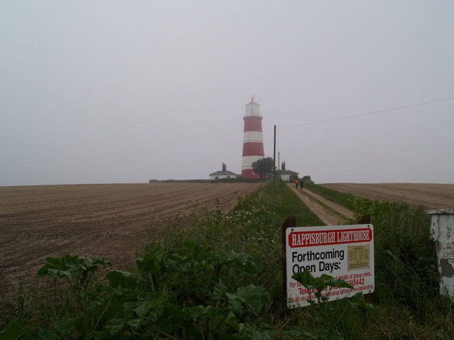 Happisburgh lighthouse in sea fret