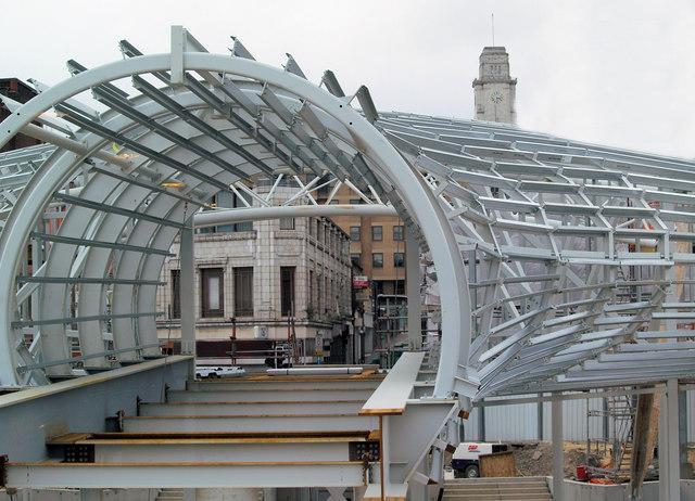 Barnsley transport interchange steel frame by Billington Structures Ltd during construction