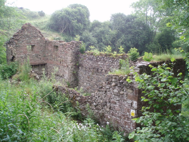 Ruined building beside the bridge